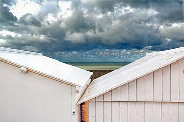Strandcabines langs de kust in Mers-les-Bains