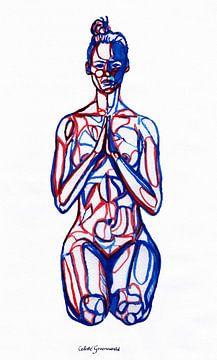 Vajrasana: Thunderbolt Pose. Blauw en Rood. van Celeste Groenewald