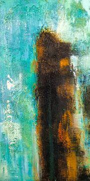 Modern, Abstract Digitaal Kunstwerk in  Blauw Oranje Zwart van Art By Dominic