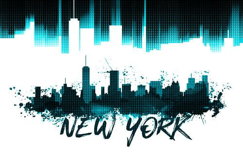 Graphic Art NYC Skyline | cyan