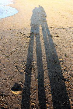 Lange schaduw van een koppel op het strand van Anna van Leeuwen