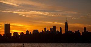 Downtown Manhattan tijdens zonsondergang van