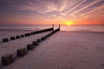 Zonsondergang in Haamstede van Koos de Wit
