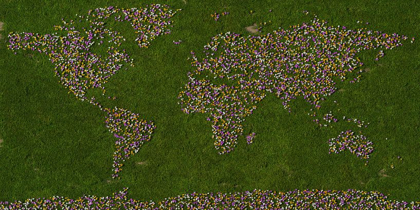 Wereldkaart krokussen van Frans Blok