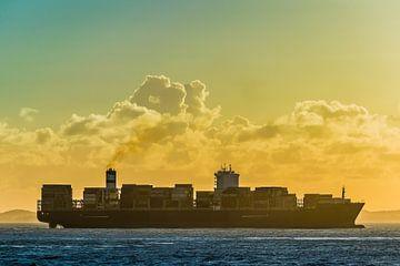 Vrachtschip in de late namiddag in Salvador, Brazilië van Castro Sanderson