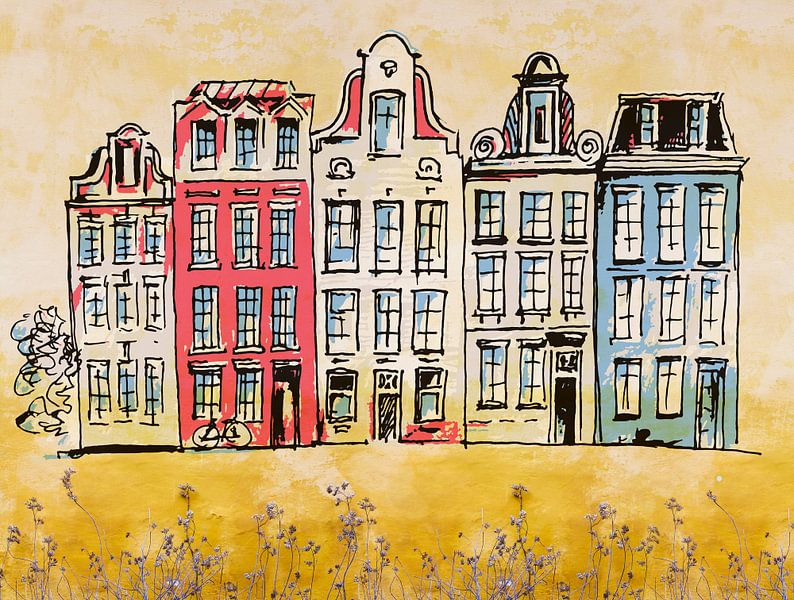 Amsterdamse huisjes van Arjen Roos