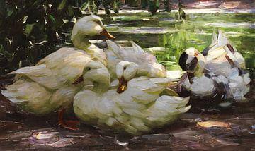Enten am Ufer, ALEXANDER KOESTER, Ca. 1910 von Atelier Liesjes