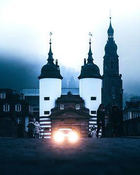 Heidelberg, rivier de Neckar, Duitsland van Marion Stoffels