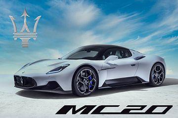 Maserati MC20, Italiaanse sportauto, met logo van Gert Hilbink