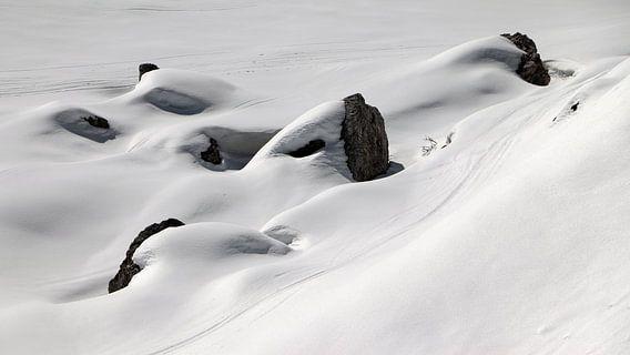 Skisporen in de sneeuw - Sextener Dolomieten - Südtirol - Italië van Felina Photography