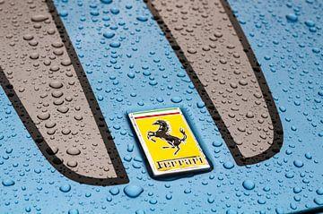Ferrari badge op een Ferrari 430 Scuderia met regendruppels van Sjoerd van der Wal