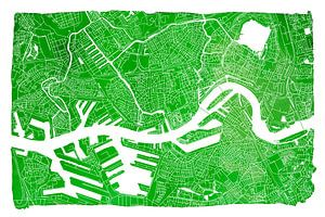 Rotterdam in Kaart - Groen Aquarel 3:2 - witte kader