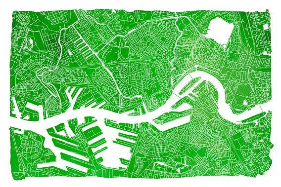 Rotterdam | Stadskaart Groen | Met witte kader
