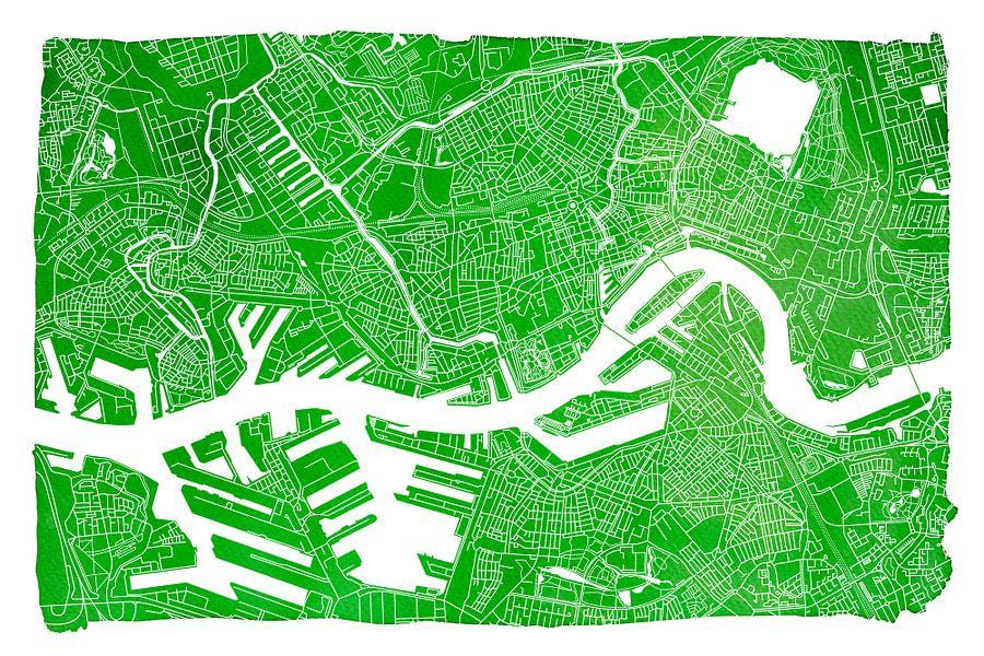 Rotterdam | Stadskaart Groen | Met witte kader van - Wereldkaarten.Shop -