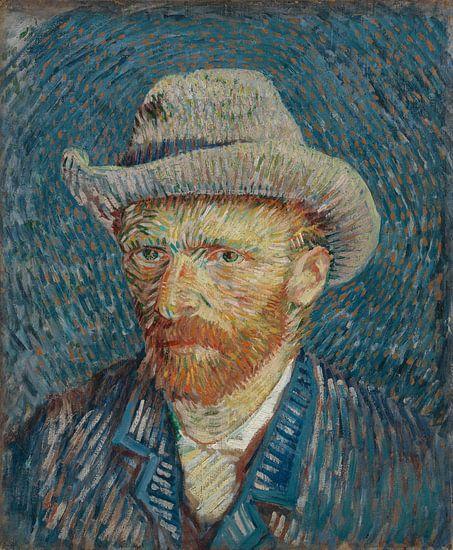 Schilderij Vincent van Gogh, Zelfportret Van Gogh met grijze vil