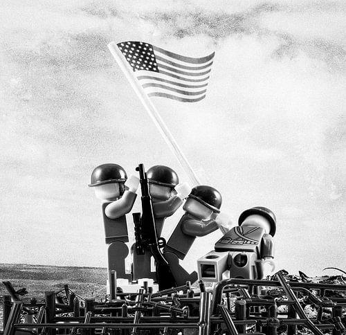 Lego Iwo Jima plaatsen van vlag van