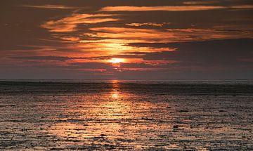 Ondergaande zon bij Wierum van Alex Dallinga