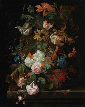 Ernst Stuven, Stilleven met bloemen in glazen vaas met vlinder