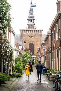 Nieuwe kerk Haarlem, aanblik vanuit de Kerkstraat/Grote Houtstraat van