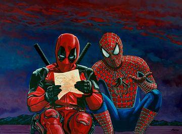 Peinture de Deadpool et Spiderman sur Paul Meijering
