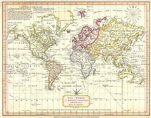 Retro wereldkaart in zachte kleuren van Emma Kersbergen