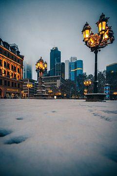 Sneeuw in Frankfurt, skyline in de ochtend van Fotos by Jan Wehnert