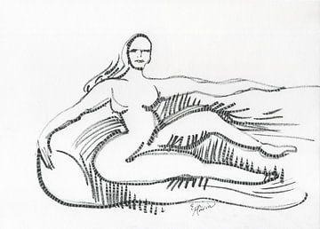 Frau auf dem Sofa von Eva van den Hamsvoort
