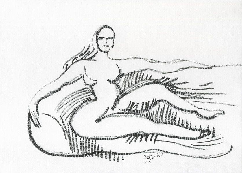 Vrouw op sofa van Eva van den Hamsvoort