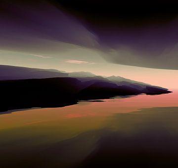 Berge bei Sonnenuntergang von Angel Estevez