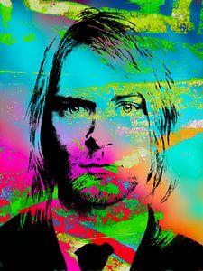 Kurt Cobain Abstract Portret in Roze, Blauw, Groen Oranje, Zwart