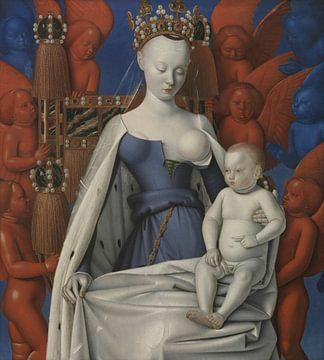 Jean Fouquet, Madonna umgeben von Seraphim und Cherubim - 1470er Jahre von Atelier Liesjes
