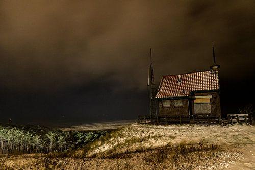 Uitzicht over de Waddenzee en het seinhuisje
