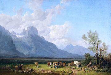 Herders aan het meer, HEINRICH BÜRKEL, ca. 1845-1850
