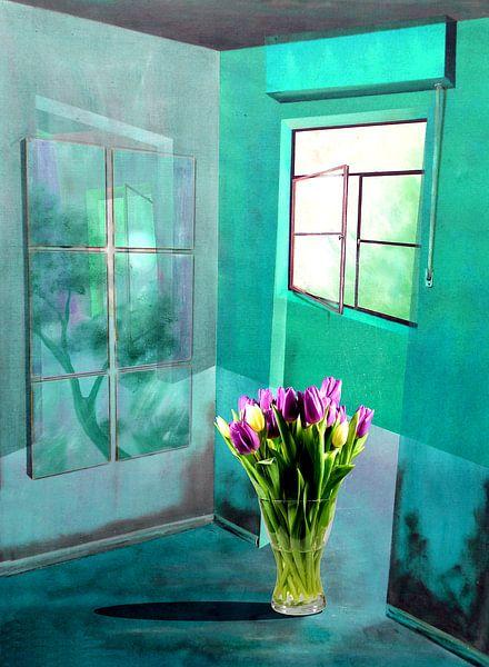 Bloemen in de kamer van Gertrud Scheffler
