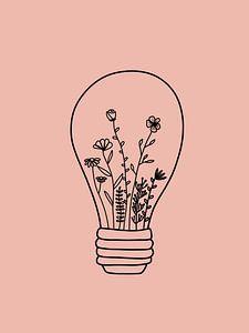 Gloeilamp met bloemen roze