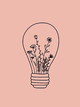 Gloeilamp met bloemen roze van Sophia Amend
