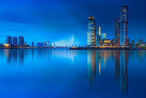Rotterdam skyline at blue hour ...