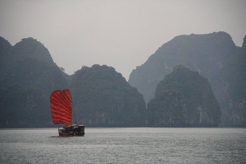 Rood zeil in Ha Long Bay van Bart De Blende