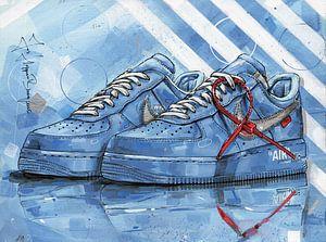 Nike Air Force 1 Low Off-White University Blue schilderij