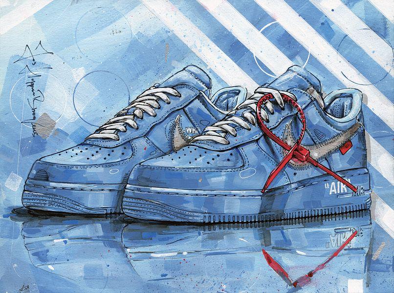 Nike Air Force 1 Low Off-White University Blue schilderij van Jos Hoppenbrouwers