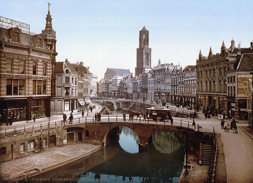 Oude Gracht und Bakkerbrug, Utrecht von Vintage Afbeeldingen