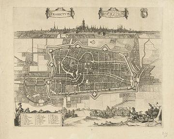 Map of the city of Utrecht with city view, Johannes Jacobsz van den Aveele, ca. 1700 - ca. 1710
