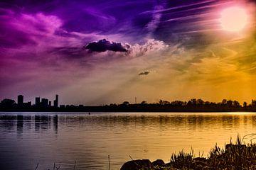 Zonsondergang Kralingse Plas (Rotterdam) van Nathan Okkerse