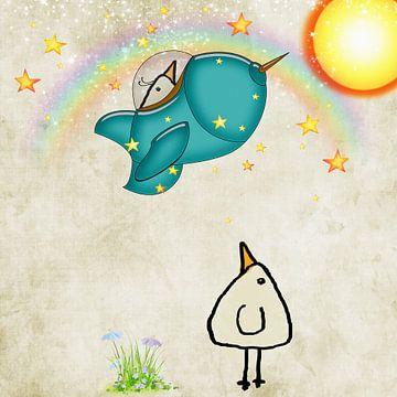 zum Mond fliegen will- Piepvogel von Marion Tenbergen