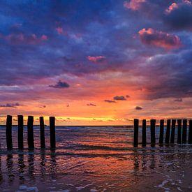 Cadzand Sunset 4 van Joram Janssen