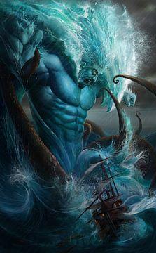 Poseidon, de god van de zee, valt een zeilschip aan van Atelier Liesjes