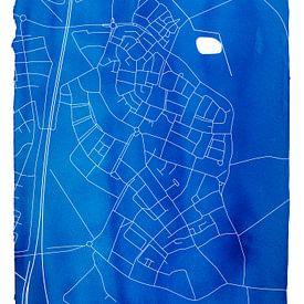 Bavel | Stadskaart Blauw | Aquarel met Witte kader van - Wereldkaarten.shop -