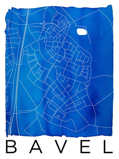 Bavel | Stadskaart Blauw | Aquarel met Witte kader