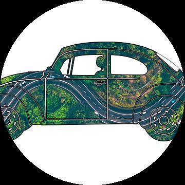 Volkswagen Kever met foto van autoweg van boven van Jan-Loek Siskens