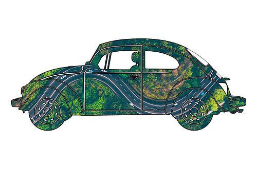 Volkswagen Kever met foto van autoweg van boven